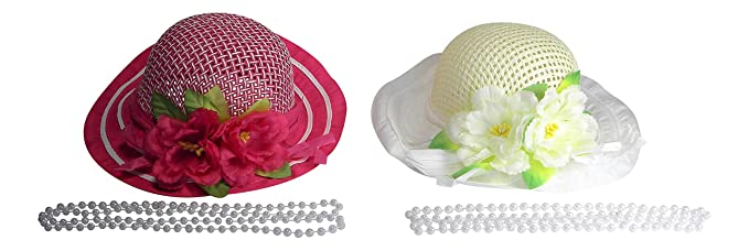 Kids Dream Girls Straw Pink Detachable Flower Lace Adorned Summer Hat 18.5