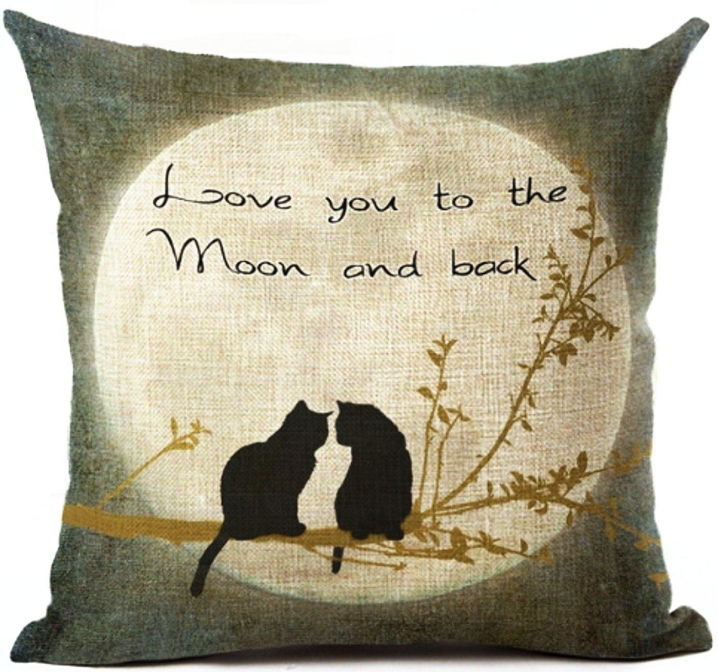 Amazon.com: Art Break Cat Pillow Case Cushion Love You to ...