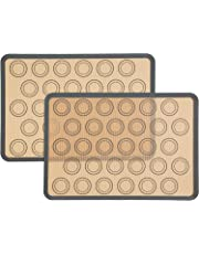 """Silicone Macaron Baking Mat,Durable Macaron Silicone Mat, Set of 2 Half Sheet (Thick & Large 11 5/8"""" x 16 1/2"""") ,Perfect Cooking Kit for Macarons,Pastry,Cake and Bread Making,Bread and Pastry Making Set of 2 by Munixi"""