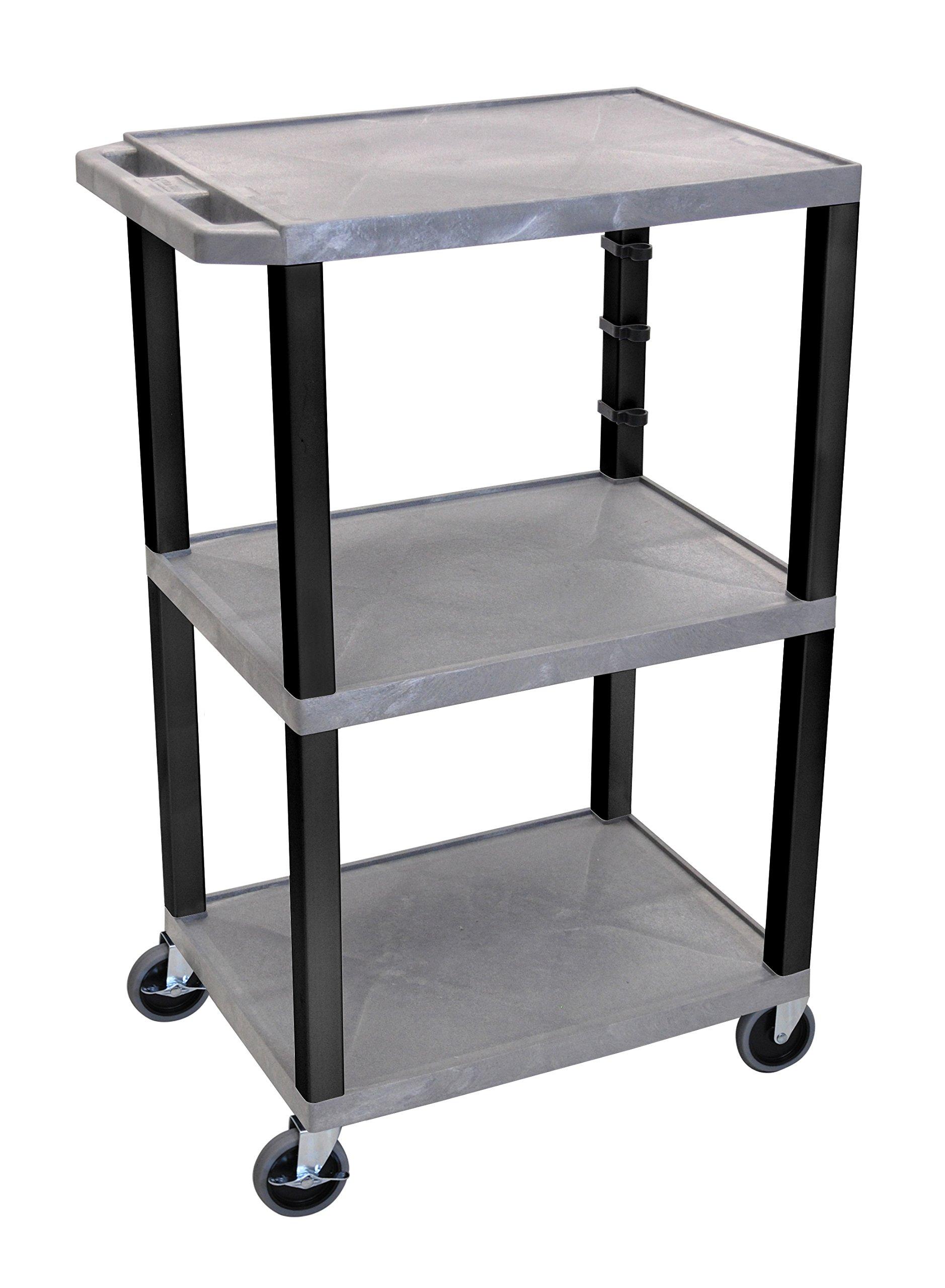Luxor WT42GYE-B 42'' Multipurpose 3 Shelf A/V Cart with Electric - Black Leg