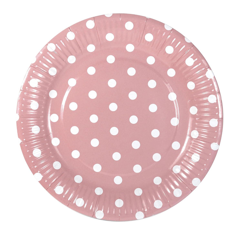 12 Frau Wundervoll Pappteller / Einwegteller aus Pappe rosa mit weiß en Punkten / Pappteller / Pappbecher / Partybecher / Einwegteller / Einweggeschirr / Frau Wundervoll Pappteller / Frau Wundervoll Pappschalen
