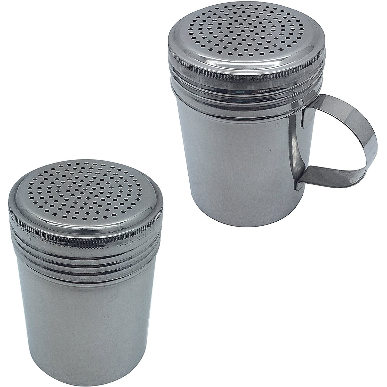 Set of 2 Stainless Steel Dredge Shakers, With Handle and Without Handle UpdateInternational COMINHKPR103119