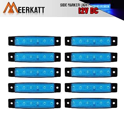 Meerkatt (Pack of 10) 3.8 Inch Blue 6 LED Side Clearance Indicators Marker License Decoration Light Fender Tail Rear Lamp Truck Trailer Bus Lorry Boat RV Pickup Camper Jeep Ambulance 12v DC Model TK12: Automotive