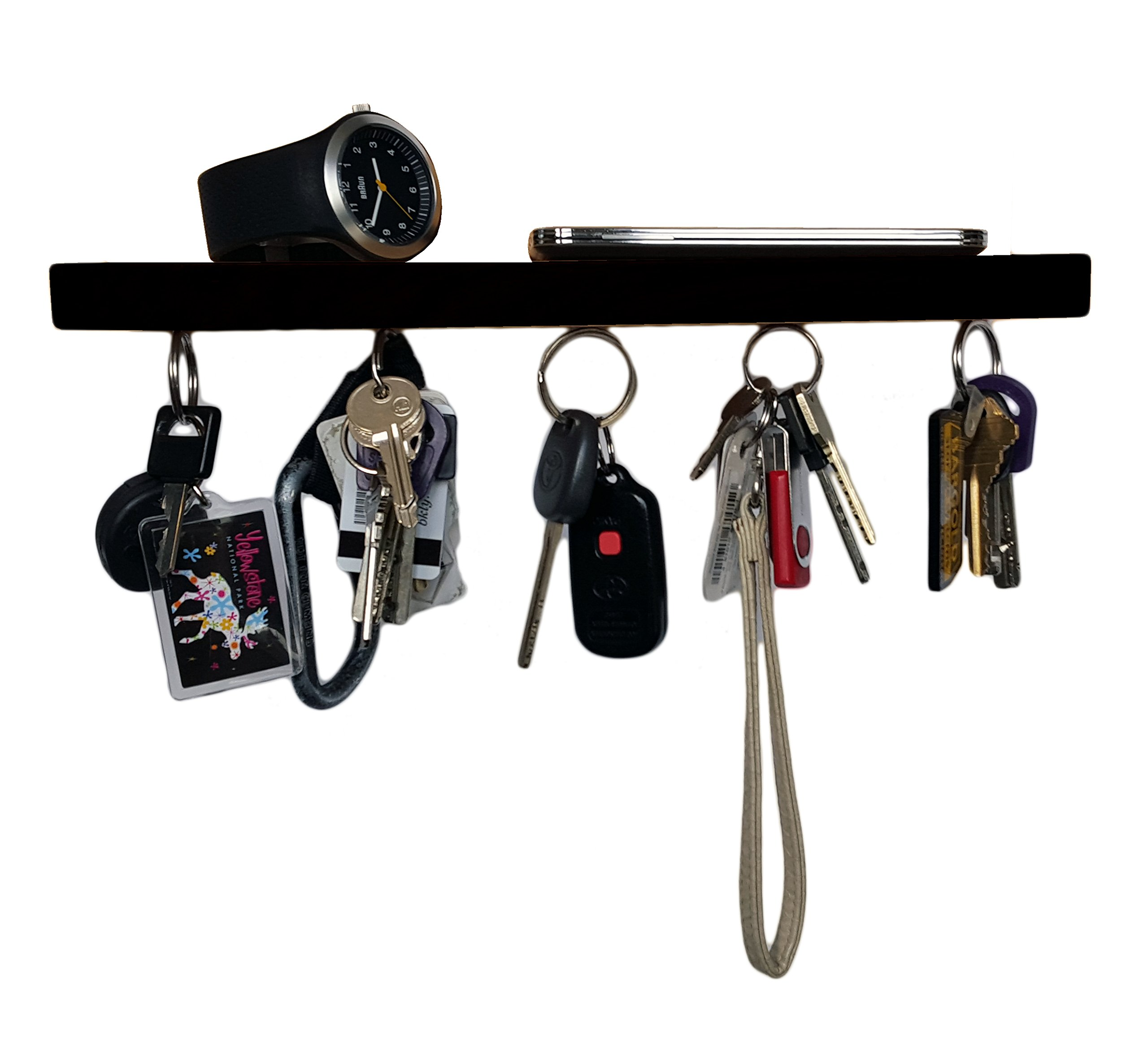 Brooklyn Basix Premium Magnetic ''bar'' Wood Key Ring Holder and Shelf for Mail, Letter, Phone, Wallet, Sunglasses Wall Mounted Organizer Perfect for Mudroom, Entryway, Foyer, Kitchen (Black)