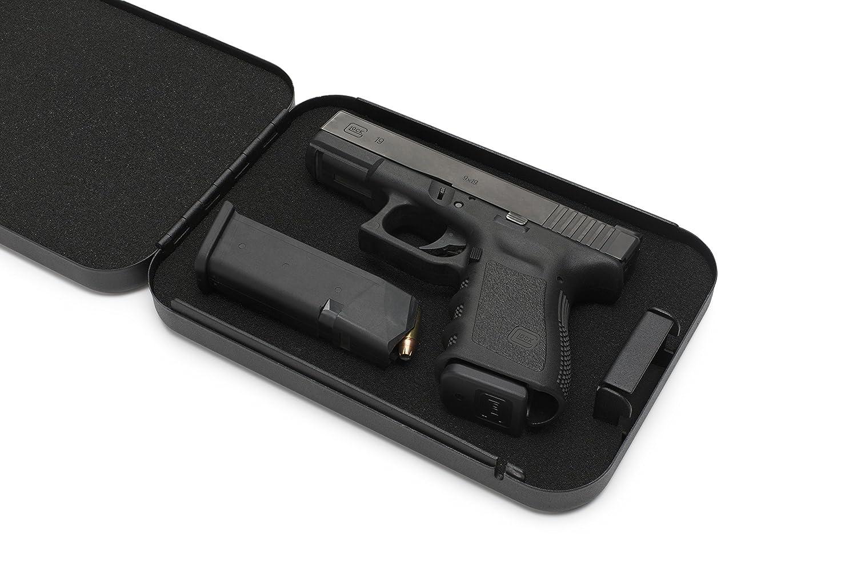 AdirOffice Portable Travel Gun Safe - Pistol Lock Box - Handgun Case - Black