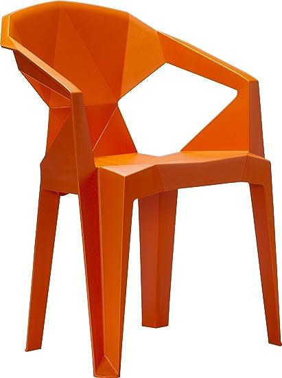 Vifah V1716 Polypropylene Resin 3D Stacking Chair In Orange (Set Of 2)