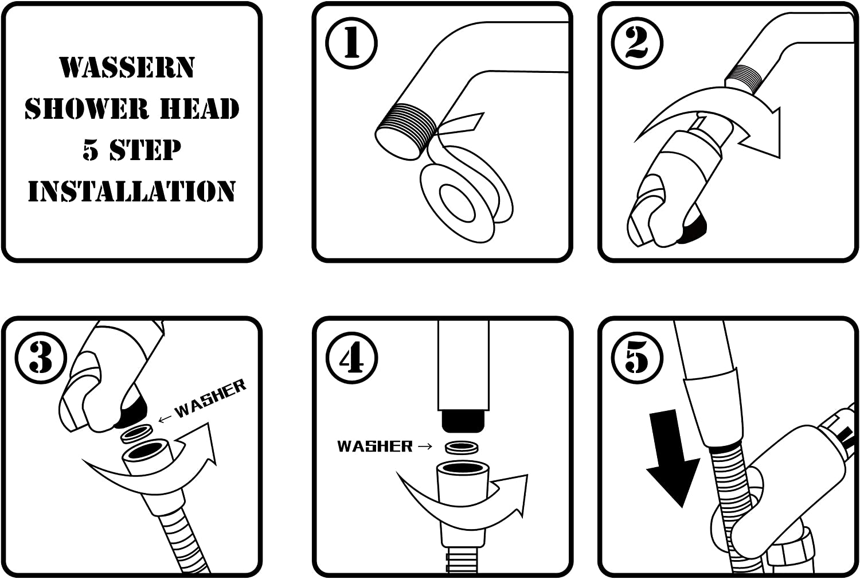 Handheld Shower Head Wassern High Pressure 9 Setting Rainfull Massage Spa Water Saving Trickle 80 Stainless Steel Hose Angle Adjustable Bracket Brass Ball Joint 3.5 Chrome