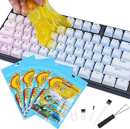 Kit Limpiador de Teclado,4 pcs Limpiador Teclado Gel Universal de Limpieza, Limpiador Teclados para Portátiles y PC, Ventilaciones de Automóviles, ...