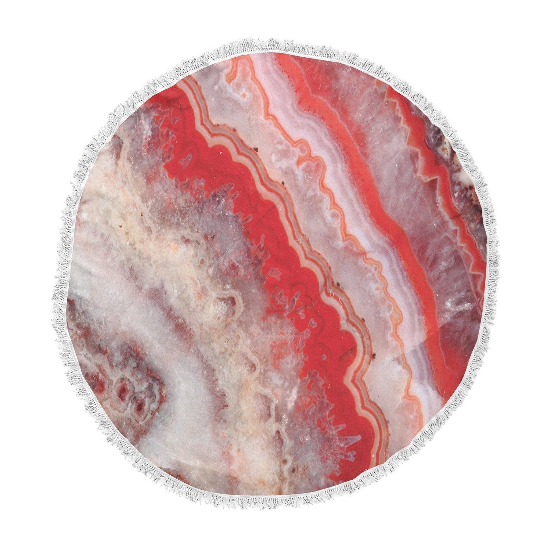 Kess InHouse Kess Original Red Lace Agate Orange Abstract Round Beach Towel Blanket