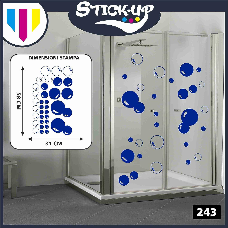 Kit Adesivo FANTASIA BOLLE DI SAPONE - Adesivi Doccia, Doccia Adesivi Murali, Camera Dei Bambini Bagno Locale di Riposo Adesivi da Parete Stickers Murali/Decorazione Murale (BLU) Stick-up