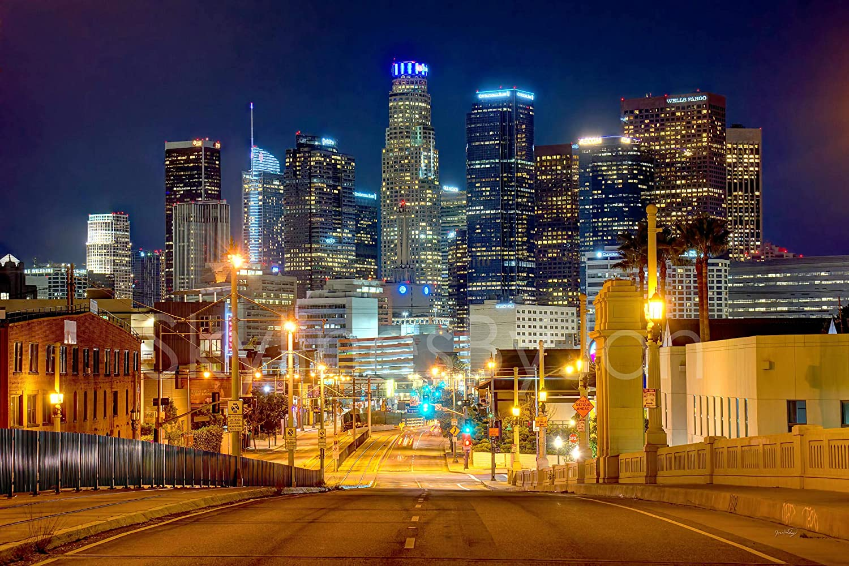 LOS ANGELES NIGHT NEW A4 POSTER GLOSS PRINT LAMINATED