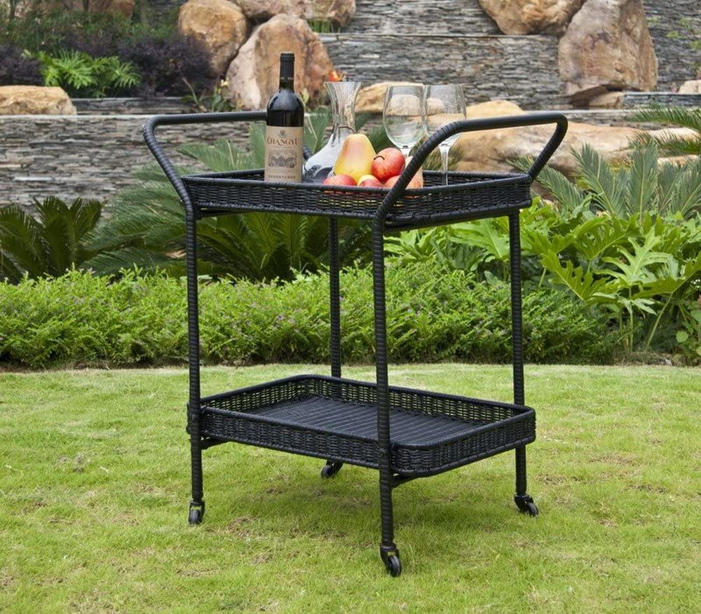 Jeco Wicker Lane ORI002-A Outdoor Espresso Wicker Patio Furniture Serving Cart