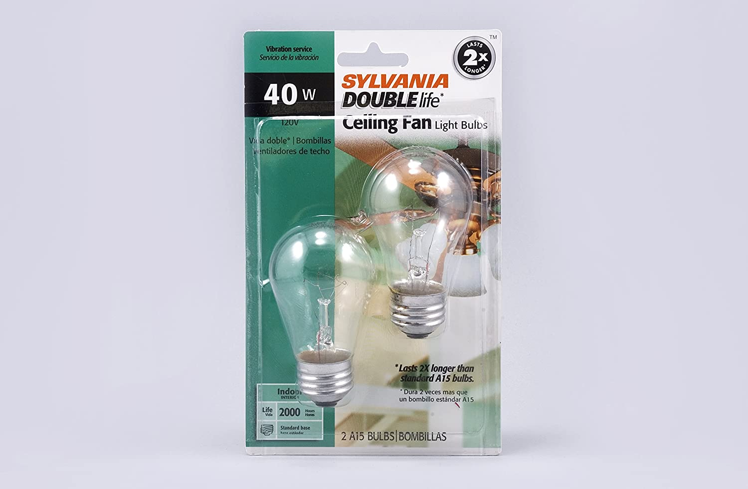 SYLVANIA Home Lighting 10034 Incandescnet Bulb, A15-40W, Double Life, Clear Finish, Medium Base, Pack of 2 - - Amazon.com