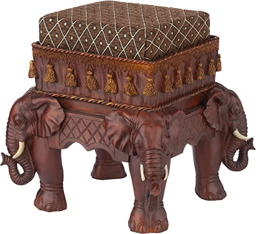 Design Toscano Maharajah Elephants Indian Decor Upholstered Footstool