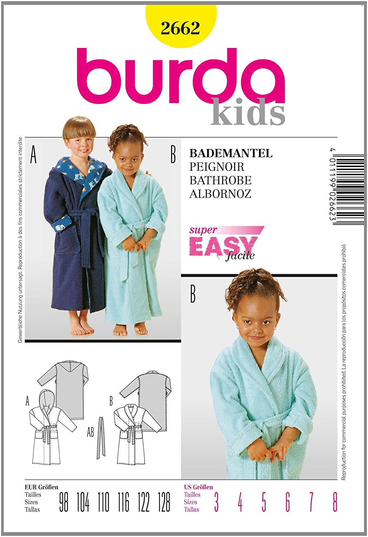 Burda Patrón 2662 Kids Albornoz: Amazon.es: Hogar