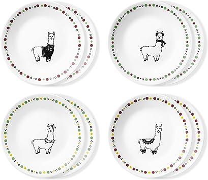 Corelle Chip Resistant Appetizer Plates, 8-Piece, Fa La Llama