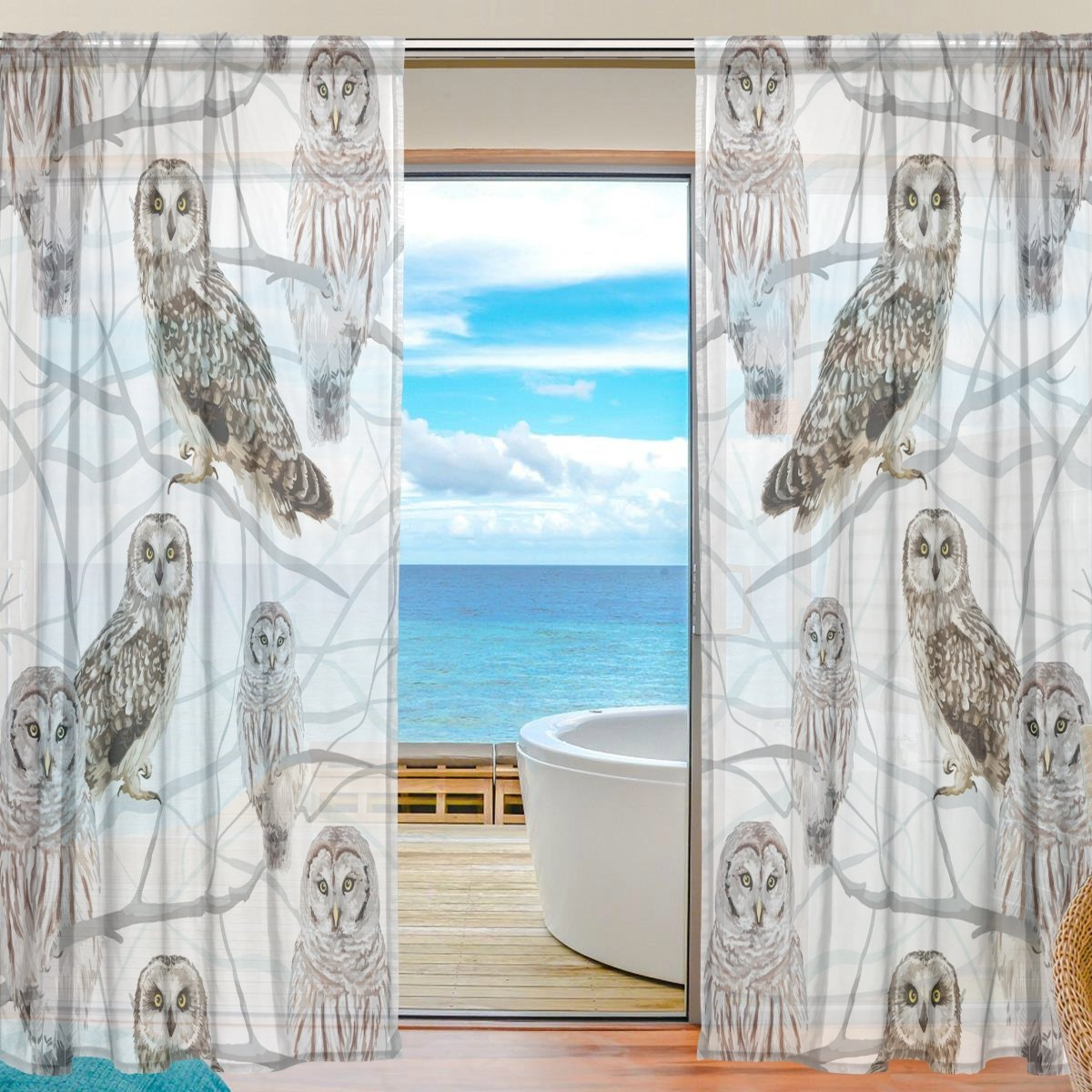 SEULIFE Window Sheer Curtain, Animal Owl Bird on Tree Branch Voile Curtain Drapes for Door Kitchen Living Room Bedroom 55x78 inches 2 Panels by SEULIFE
