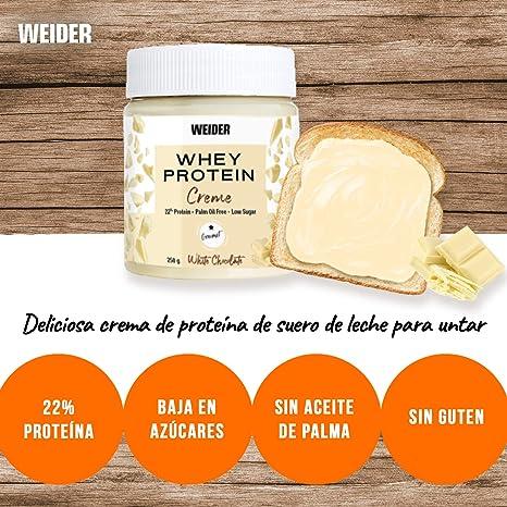 Weider Whey Protein White Spread 250 g. Crema de chocolate Blanco con 22% de proteínas Baja en azúcares Sin aceite de palma y sin gluten.