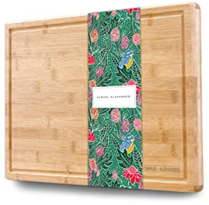 """Samuel Alexander Bamboo Cheese Board & Cutting Board with Juice Groove - Professional Wooden Chopping Board Ideal as a Meat Cutting Board & Cheese Block - Large Surface Area 18"""" x 12"""" - Organic Bamboo"""