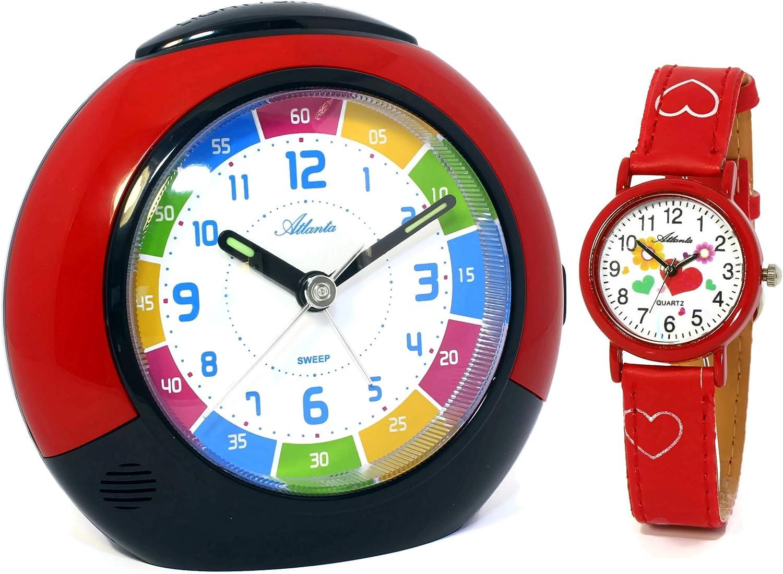 Atlanta 1678-1 KAU - Juego de despertador y reloj analógico de pulsera para niñas, en rojo, sin sonido de tic tac, con luz y botón de pausa