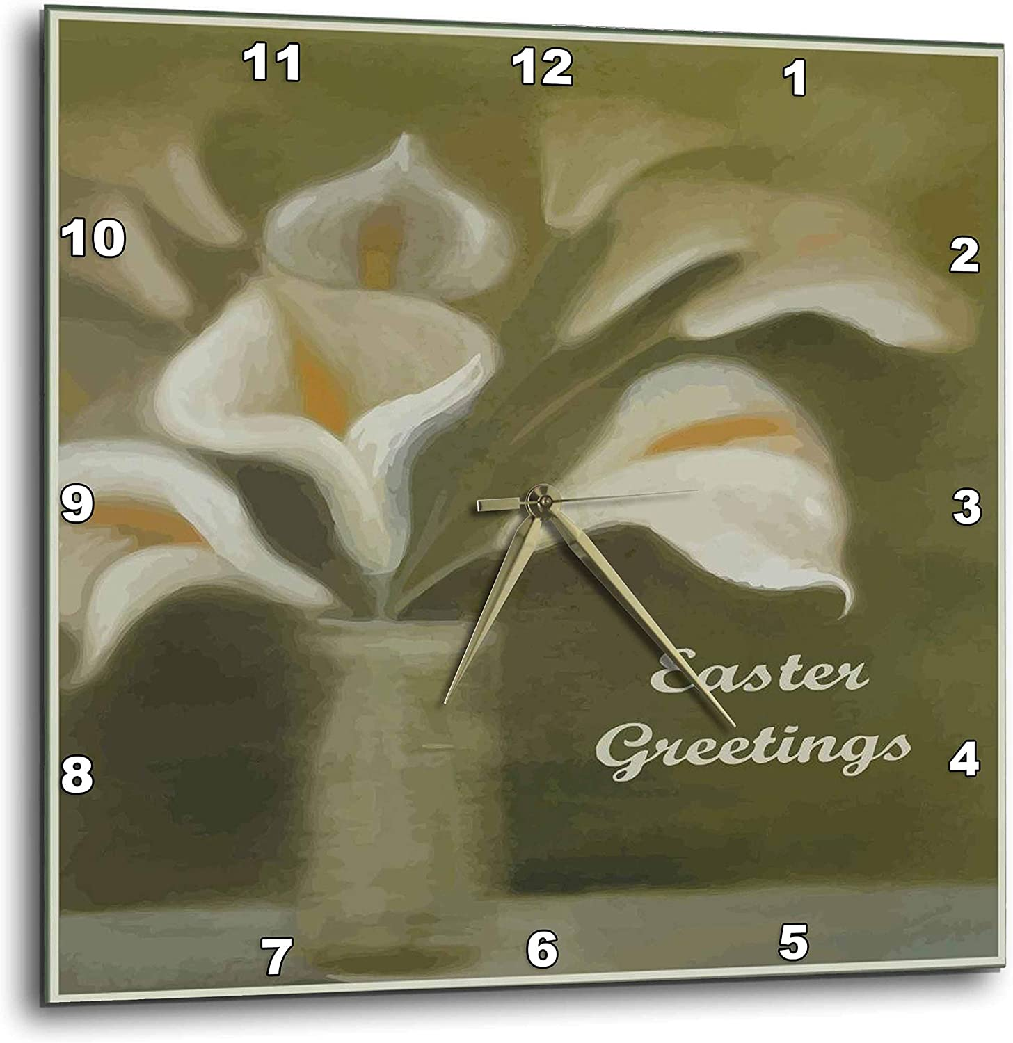 3dRose Ten White Calla Lilies in a vase on sage Green with Easter. - Wall Clocks (DPP_333942_1)