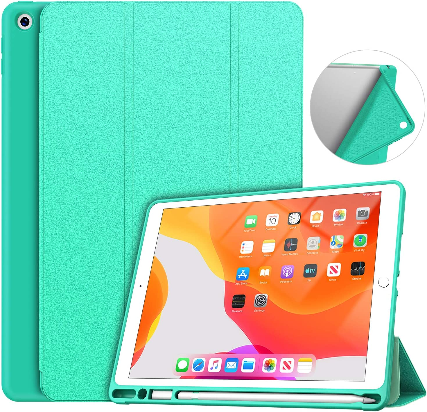 Soke iPad 7th/8th Generation Case,Compatible iPad 8th Generation(2020 Releases),iPad Case 10.2 Case with Pencil Holder, Lightweight Smart Cover with Soft TPU Back,Auto Sleep/Wake (Mint Green)