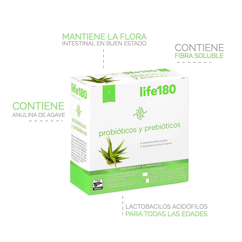 LIFE180 Probióticos y Prebióticos, 21 Sobres, 63 g: Amazon.com.mx: Salud,  Belleza y Cuidado Personal