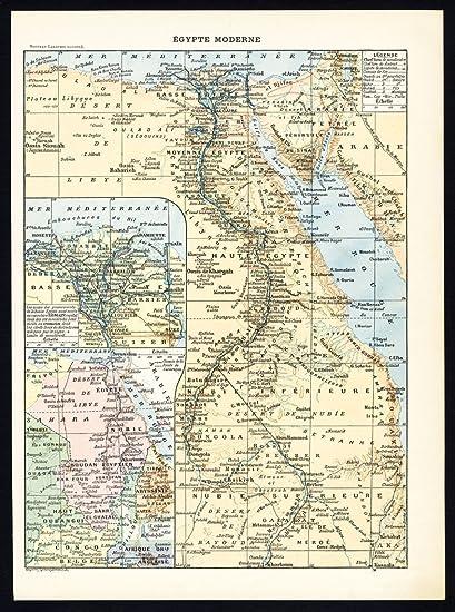 Amazon Com Antique Maps Modern And Ancient Egypt Larousse 1897
