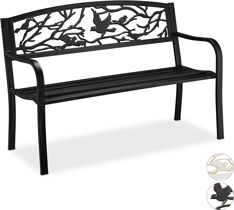 Color Negro Relaxdays Gartenbank Banco de jard/ín dise/ño de p/ájaros 2 plazas, Revestimiento anti/óxido, 87 x 127 x 57 cm