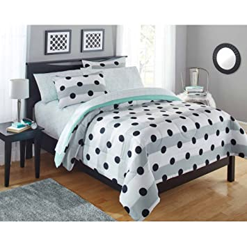Mainstays Kids Black And White Polka Dots Bedding Twin Girls Comforter Set  (5 Piece In