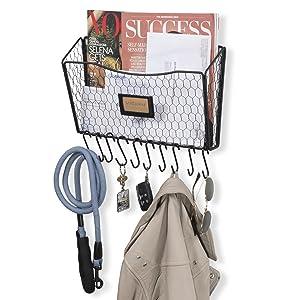 Wall35 Felic Chicken Wire Entryway Organizer – Farmhouse Desktop Organizer - Wall Mounted File Folder Holder - Mail Sorter Basket with 10 Coat Hooks and Key Holder