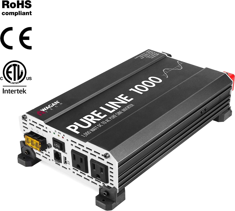Wagan EL3804 Pure Line Inverter 1000 Watt DC 12V to 110V AC Car Power Inverter