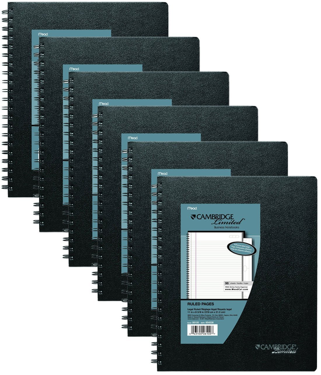 Mead Cambridge Business Notebook with Pocket, Hardbound, 8.25 x 11 Inches, Black, 6 Pack by Mead