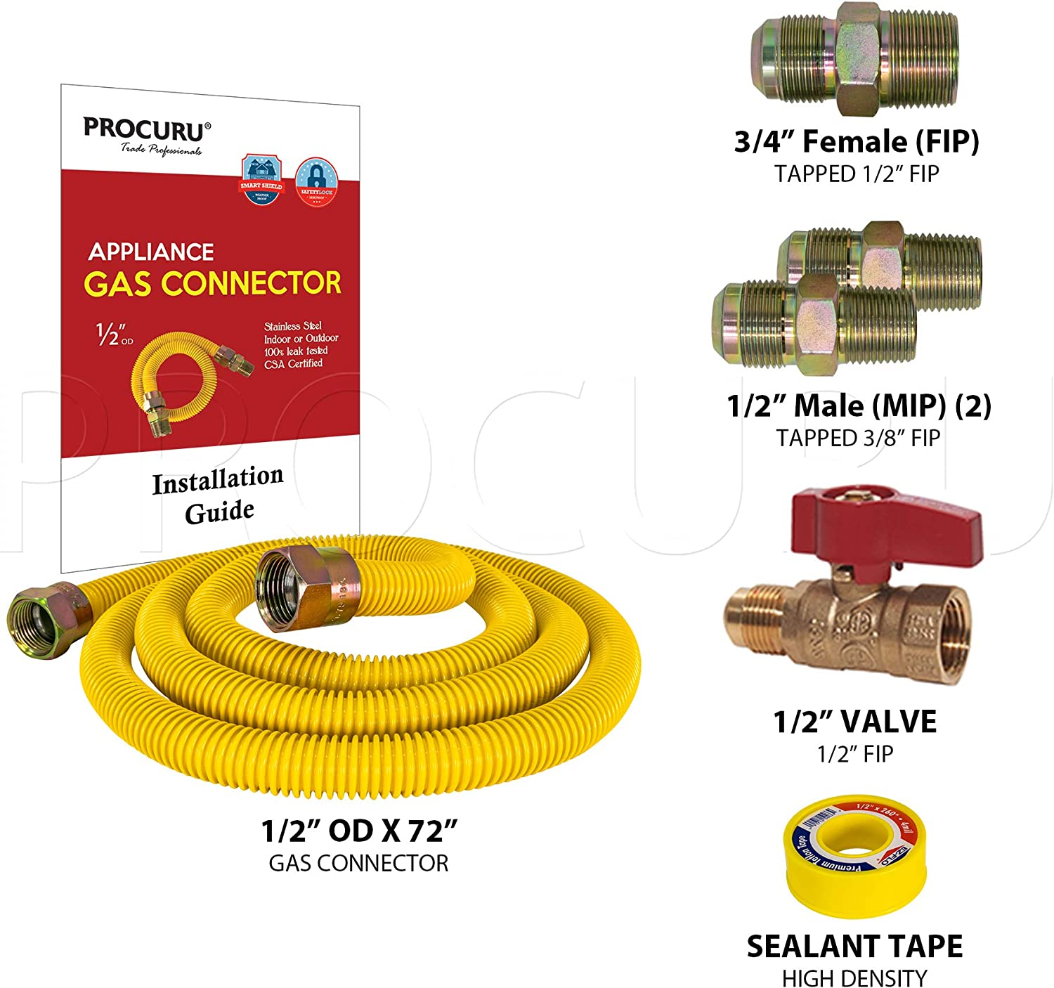 Weatherproof Flexible Stainless Steel Pipe Yellow SafeGuard Coating Water Heater PROCURU 12 x 1//2 OD Gas Flex Line Connector Kit with 1//2 Straight Valve for Dryer Bbq Grill