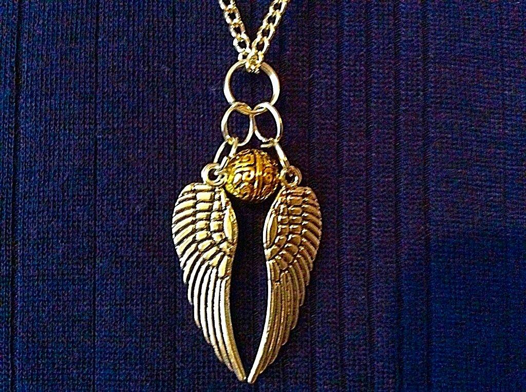Halskette mit Schnatz Snitch - mit bronzierter 80cm Kette - bestehend aus kleiner Kugel und zwei Fl/ügeln lose Harry Potter