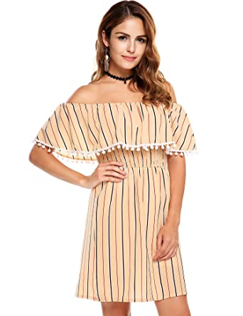 cb41e20059c9 Zeagoo Fashion Women Off Shoulder Ruffles Striped Casual Tassel Mini Dress ( Small