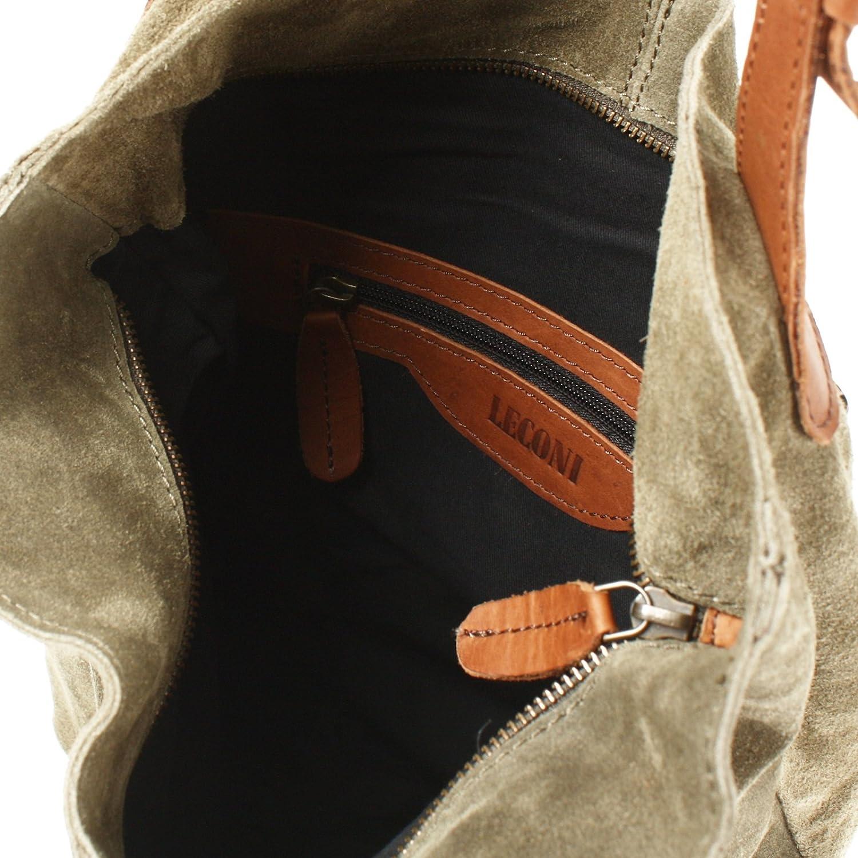 bureau ou shopping Femme Sac en cuir Cuir en daim 34x35x10cm LE0033-V Leconi Sac /à main en cuir v/éritable en su/ède pour femme Sacs /à main