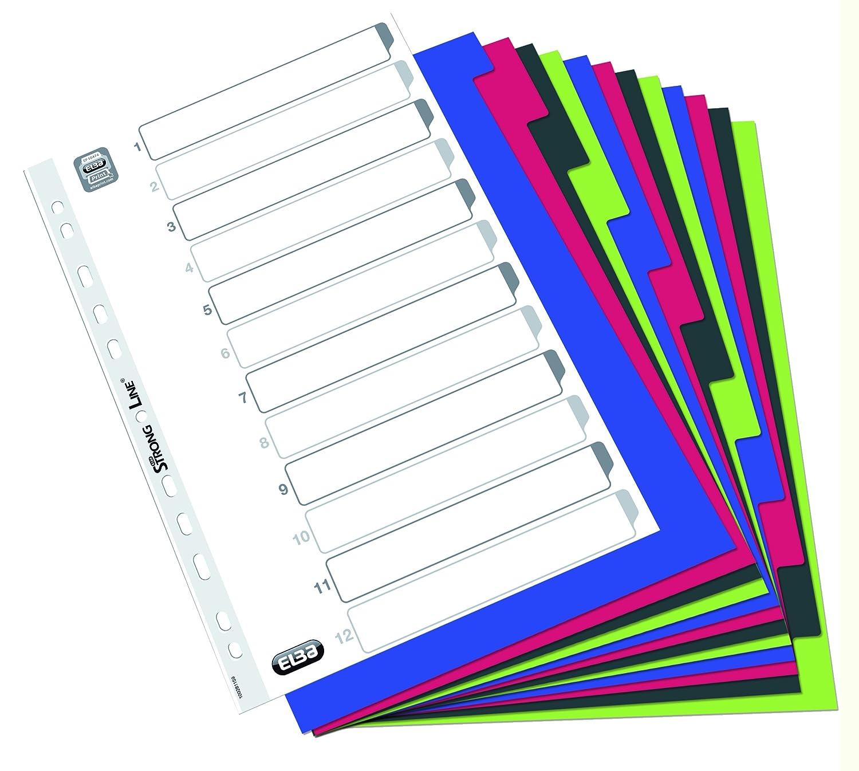 Elba 100205089 Divisori Personalizzabili in Polipropilene con 12 Tacche Neutre Colorate Hamelin Brands