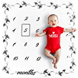 LITTLE PRODIGY Organic Baby Monthly Milestone Blanket for Baby Boy or Baby Girl, Premium Soft Bamboo Fibers & Natural Cotton, Photography Background Prop for Newborn 1 to 12 Months, Activity eBook