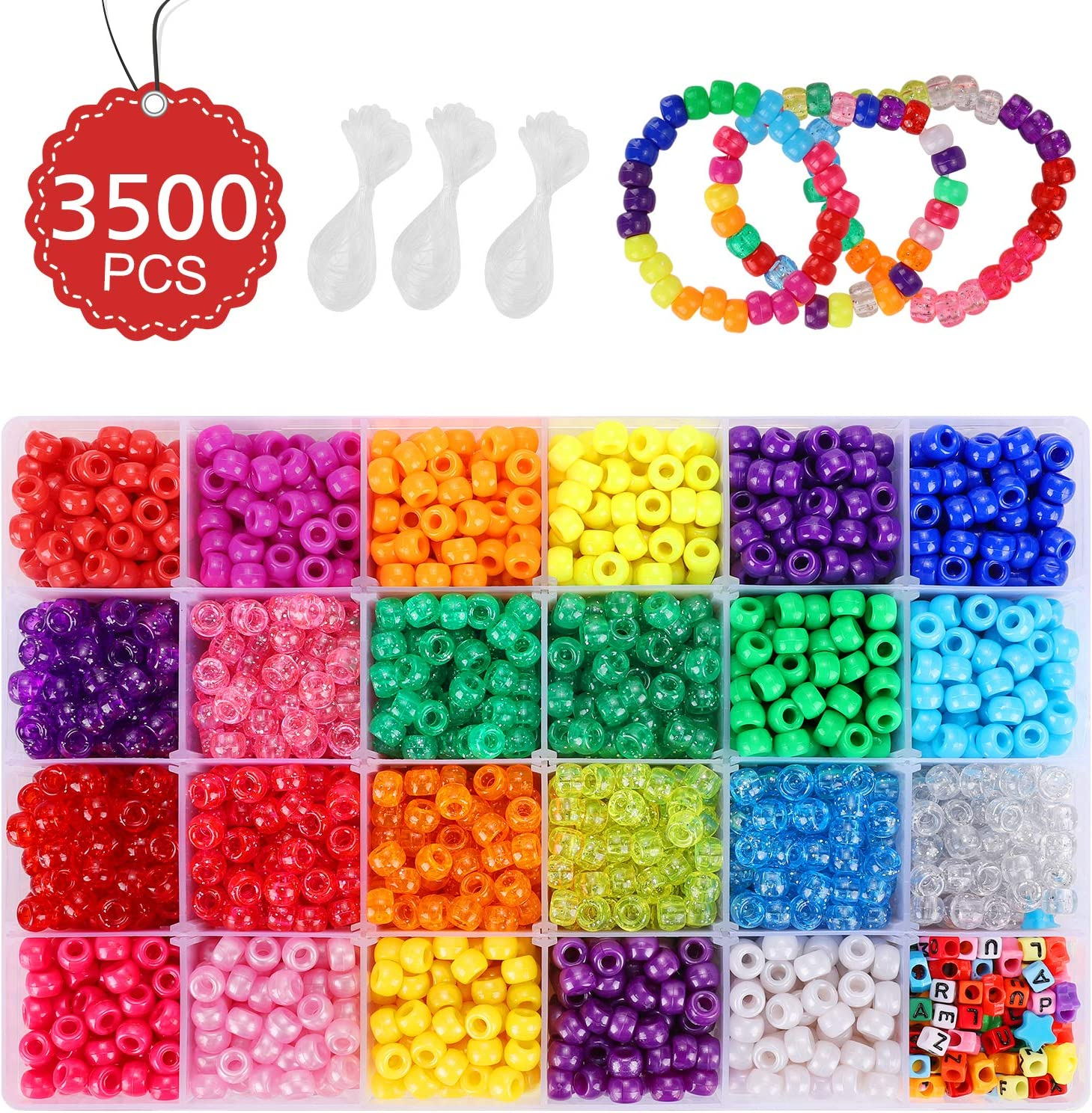 -Inch in 23 Colors with Letter Beads 0.23 X 0.35 Pony Beads for Bracelet Making Beads Kit 3500 Pcs Bracelet Beads for Kids Jewelry Making Star Beads and Elastic String