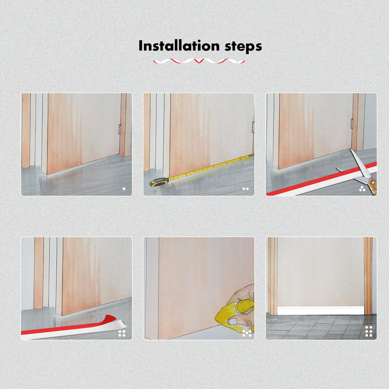 Under Door Sweep 2 Width x 39 Length Door Draft Stopper Weather Stripping Door Bottom Seal Strip White Fowong DGW5