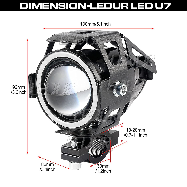 LEDUR Switch on off Motorcycle 7//8 Inch Universal Handlebar Mounting Switch for Headlight Fog Daytime Running Light