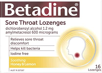 Betadine Sore Throat Lozenges - Relieves sore throat discomfort - Helps kill bacteria - Fast acting, 16 Pack