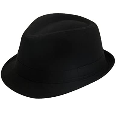 2371949cdcc393 Classic plain black trilby hat: Amazon.co.uk: Clothing