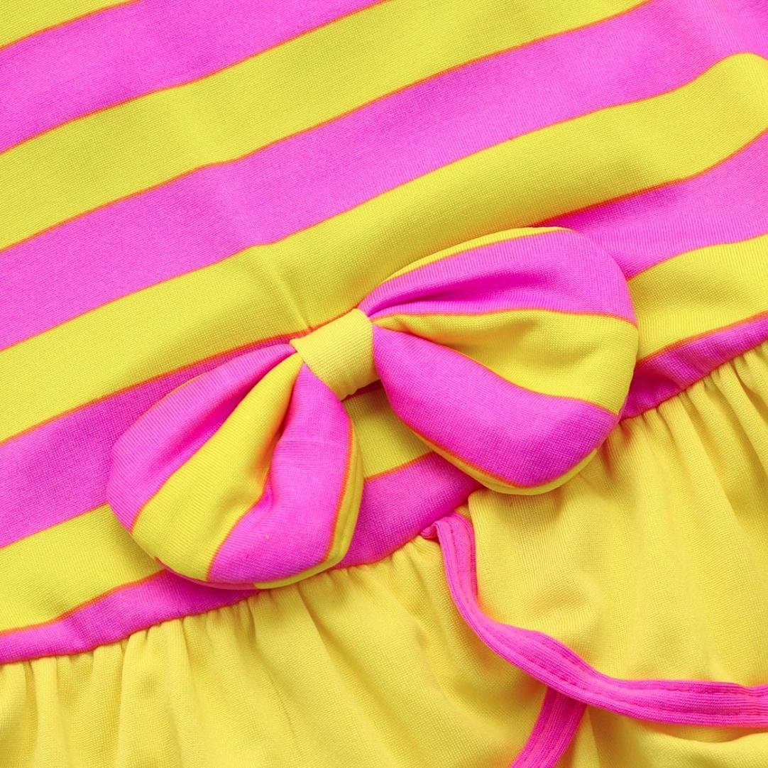 KONFA Teen Baby Girls Striped Swimwear Ruffles Rompers,Suitable For 3-5 Years Old,Lovely Straps Swimsuit Jumpsuit Cover Up