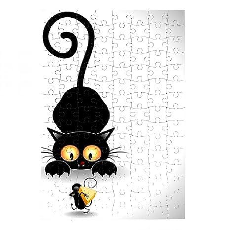Puzzle Gato de dibujos animados en Emboscada-Gato de acecho y Mickey Mouse de Clip