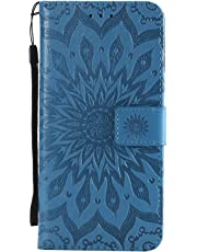 Samsung Galaxy A7 2018 Case, Shockproof PU Leather Flip Wallet Cases Sunflower Embossed with Stand Card Holder Money Pouch Folio Gel Bumper Slim Fit Protective Skin Cover for Samsung Galaxy A7 Blue