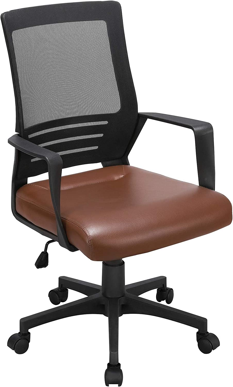 YAHEETECH Office Desk Chair Mesh Rolling Lumbar Support Computer Chair with Leather Padded Seat, Ergonomic Adjustable Task Chair Brown