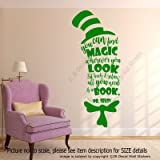 """You can find magic wherever you look, sit back and relax all you need is a book"". - Dr. Seuss Quote Removable vinyl Wall Art Stickers Nursery, Kid's room, School wall art Decal home decor"