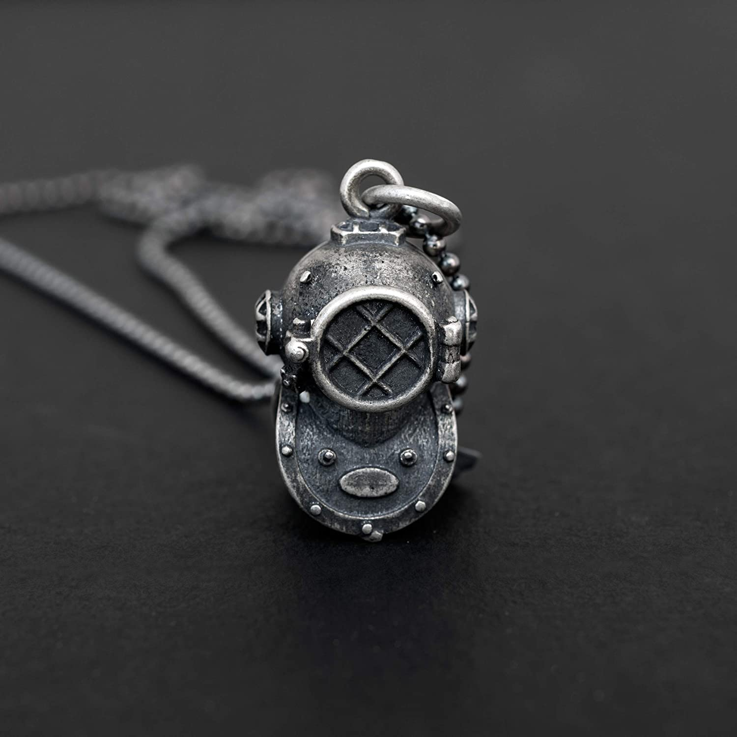 925 sterling silver necklace for men pendant for men necklace steampunk vintage scuba dive mask navy necklace nautical sea jewellery mens gift